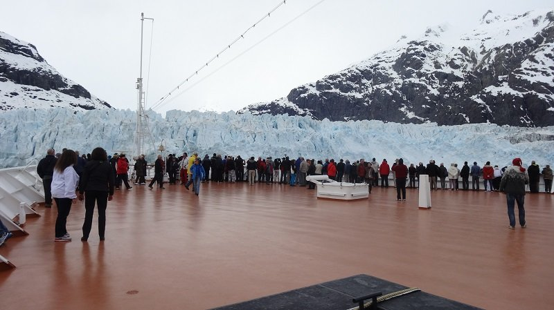 Everyone on deck for the Margerie Glacier