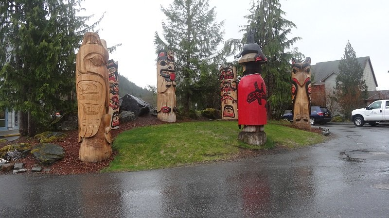 Totem Poles at Cape Fox Lodge Hotel