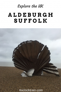 Take a winter walk through the picturesque English town of Aldeburgh Suffolk. Discover a sculpture on Aldeburgh Beach and stroll the colourful high street. #UK #Suffolk #Aldeburgh