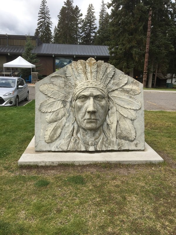 Stone Carving of an Indian Chief