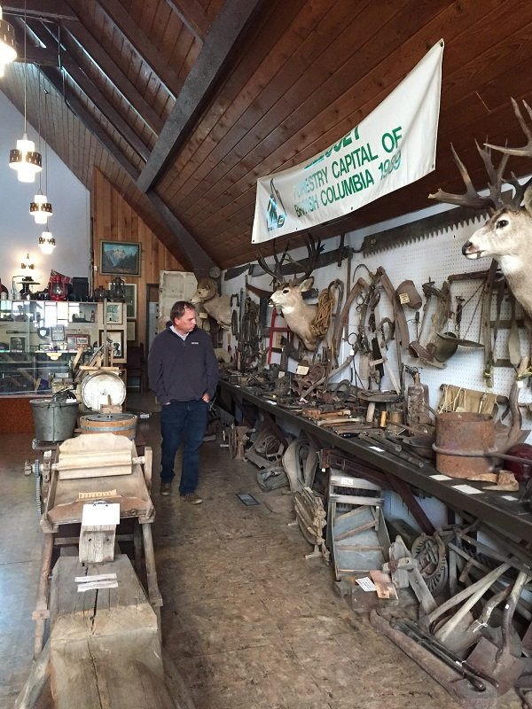 Paul browsing the many exhibits in the Lillooet Museum