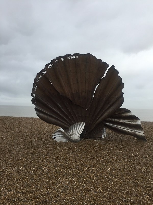The iconic scallop shell sculpture on Aldeburgh Beach