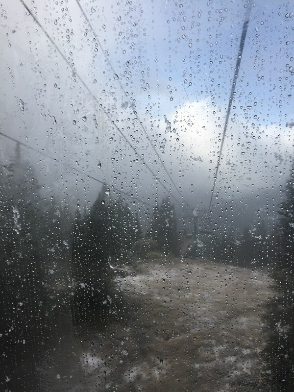 It was very wet while we were on the Lake Louise Gondola