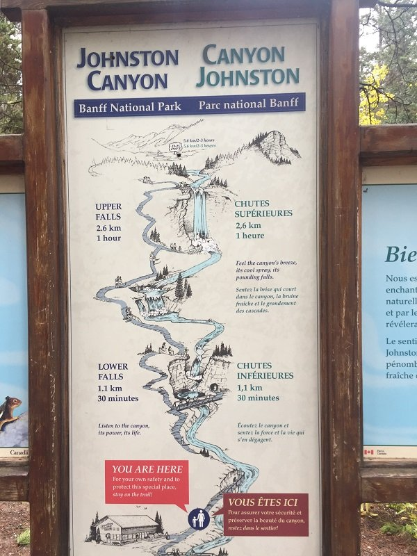 2 Days in Banff Johnston Canyon Trail Map