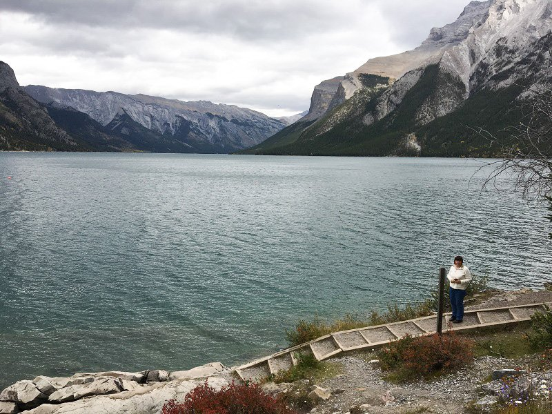 2 Days in Banff Getting close to the lakeside on Lake Minnewanka Loop Drive