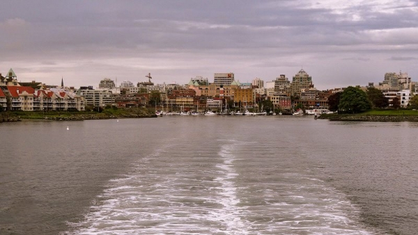 You get a great view of the harbour as you leave on the Victoria to Seattle Ferry