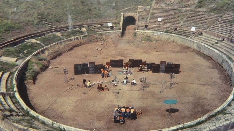 Pink Floyd filming at Pompeii amphitheatre