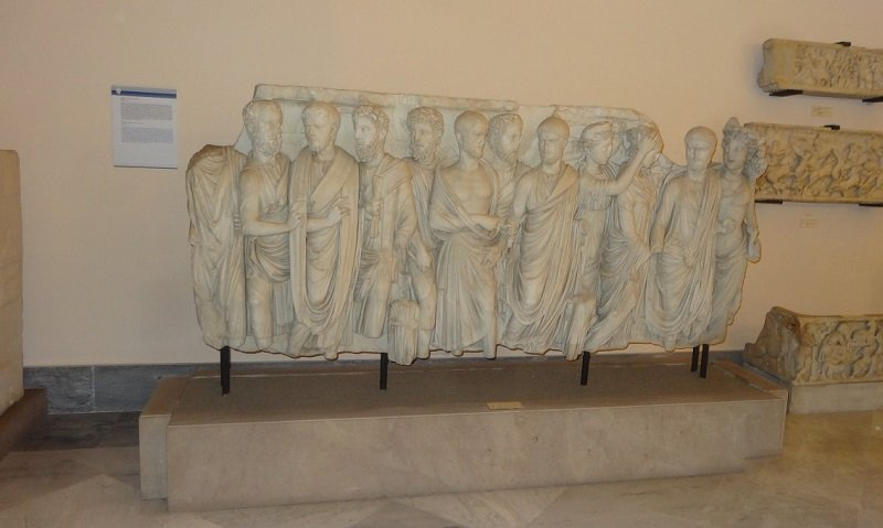 Sarcophagus of the Brothers This relief sculpture in marble is a fragment from a sarcophagus.  It depicts the the deceased man dress in various forms of traditional Roman dress.