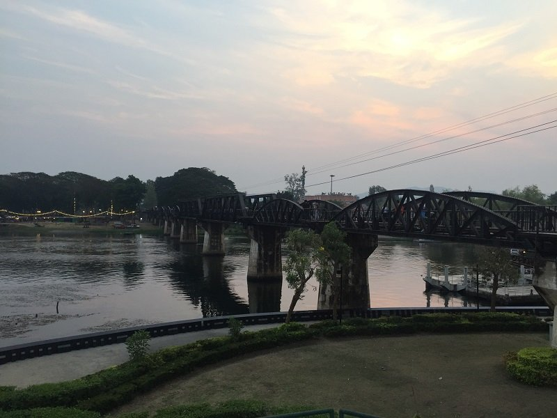 An evening view of the Bridge over the River Kwai