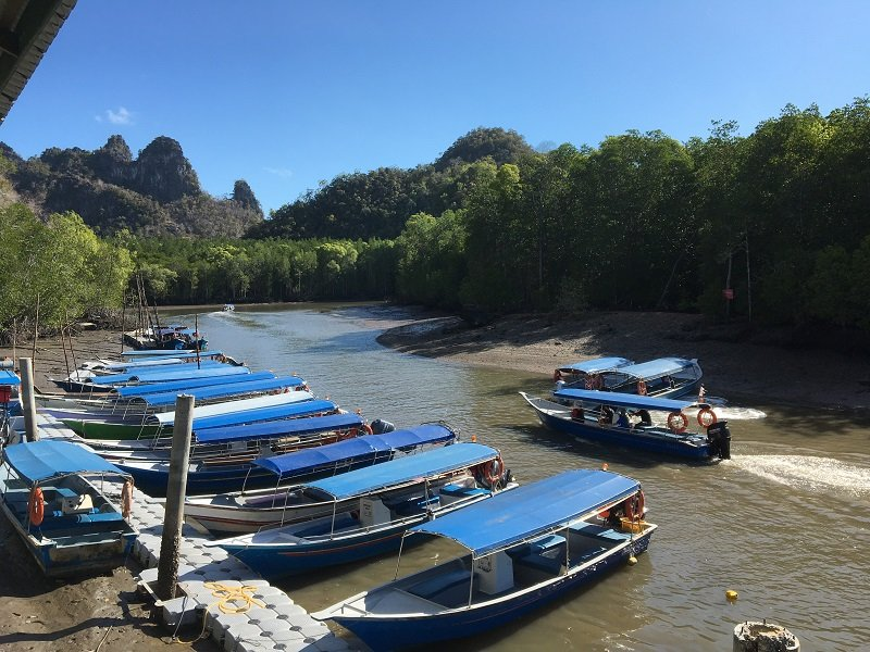 Langkawi Mangrove Tour Tour Boats waiting at the jetty